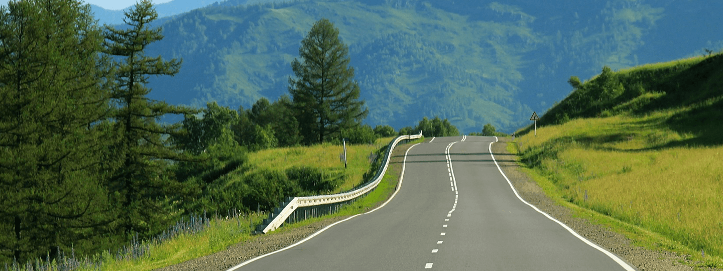An uneven windy road surrounded by green foliage and mountains