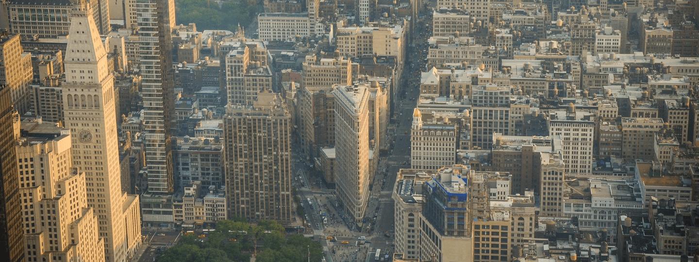 Aerial view of a dense portion of Manhattan