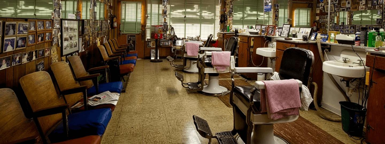 Interior of an empty barbershop