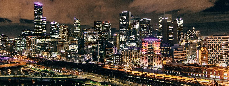 A large city skyline at night