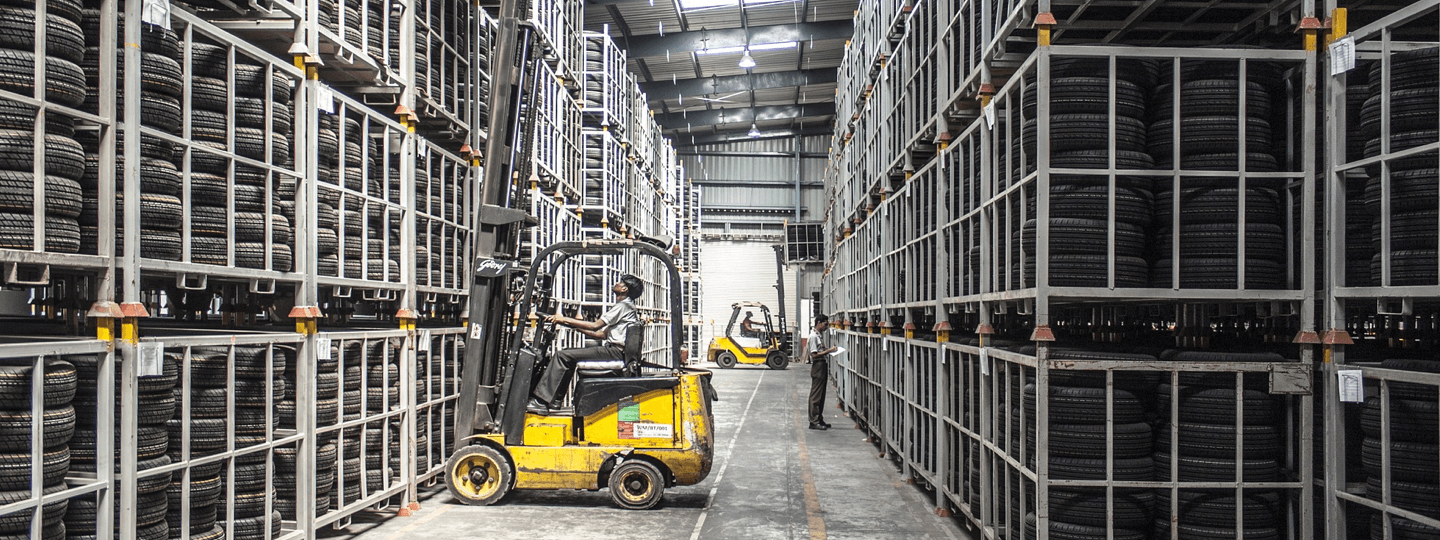 Tire warehouse with forklift
