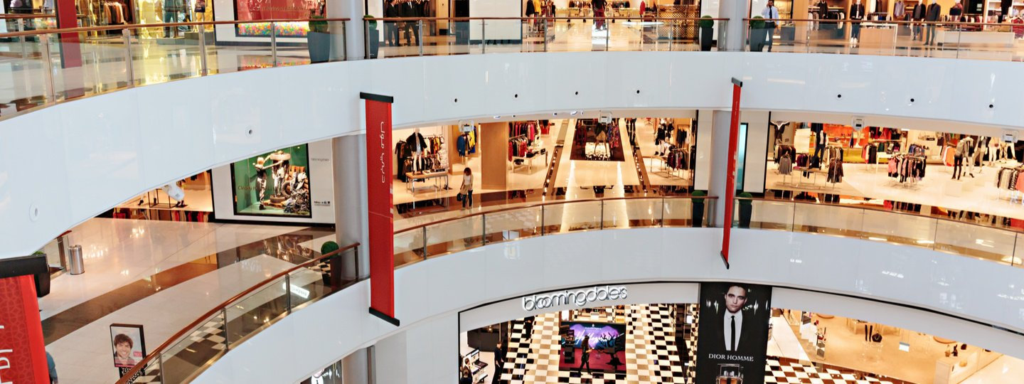Interior view of a large, three story mall