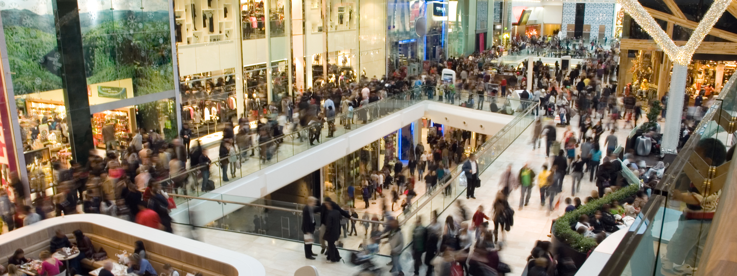 Interior view of a crowded mall