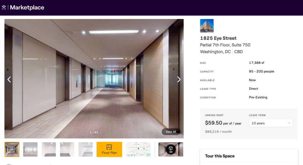 Tishman Speyer's space listing for Suite 750 at 1825 Eye Street, Washington, D.C.